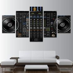Canvas Painting Wall Art Modular Frame Home Decor 5 Pieces Music DJ Console Instrument Mixer Pictures HD Printed Posters Big Canvas, Canvas Frame, Canvas Wall Art, Dj Techno, Wall Art Prints, Poster Prints, Music Canvas, 5 Panel Wall Art, Decorating Your Home