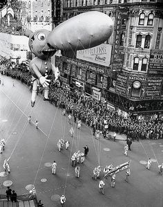 1937--Marcy's Thanksgiving parade, Pinocchio floating through either Times Square or Herald Square with his 44-foot nose.