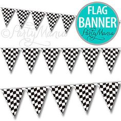 RACING CAR CARS PARTY CHEQUERED CHECKERED FLAG BUNTING BANNER PENNANT DECORATION