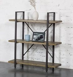 O&K Furniture 3 Shelf Rustic Bookshelf and Bookcase, Vintage Green #Furniture #Shelf #Rustic #Bookshelf #Bookcase, #Vintage #Green