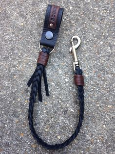 Black leather hand braided Lanyard key or wallet chain. on Etsy, £27.50