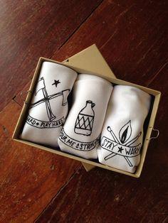 Handkerchiefs set of 3 Mens Hankies with Axe by UrbanBirdandCo