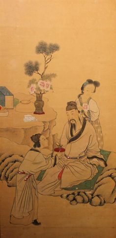 CHINESE PAINTING OF A SCHOLAR, HIS LADY AND AN ATTENDANT, LADY - LATE QING DYNASTY