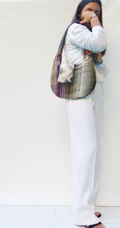 one of a kind design purses, gray hobo handbags striped