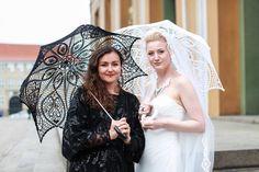 BLACK Crochet Umbrella Victorian Parasol Goth by ModernCrochetClub