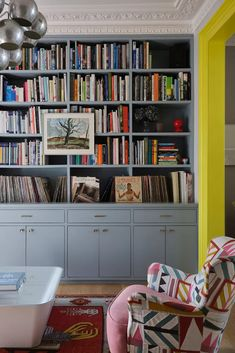 See inside Suzy Hoodless' home - a vibrant lesson in the clever use of colour | Livingetc Pierre Frey, Bookshelf Design, Bookshelves, Bookshelf Ideas, Bookshelf Styling, Eames, Dado Rail, Stunning Wallpapers, Home Libraries