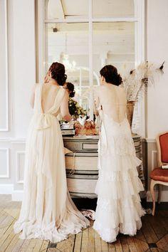 Beautiful layered silk chiffon dresses. I would love a simple wedding dress like one of these. Perfection.
