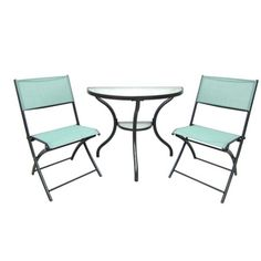 3 Piece Eclipse 1/2 Table Bistro set with Folding Chairs