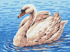 THE SWAN, SMALL NEEDLEPOINT CANVAS::Animals, Wild Life, Birds::Needlepoint Canvases-Printed::Jackie's NeedleArt Mania - Discount Needlepoint Products and More: Crewel Embroidery, Counted Cross Stitch, Stamped Embroidery