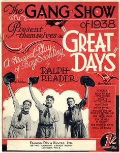 """PHOTO BOY SCOUTS A MUSICAL PLAY """"GREAT DAYS"""" BY RALPH READER - 1938 -Sheet Music 