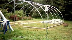 Time Lapse of the construction phase of my Hoop House Greenhouse. Pvc Greenhouse, Greenhouse Gardening, Gardening Tips, Garden Structures, Outdoor Structures, Barn Plans, Garage Plans, Outdoor Sheds, Building A Shed