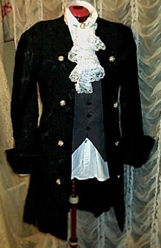 Mens Black Brocade Pirate Colonial Rococo Frock by royalcostumes