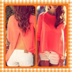 NWOT. Backless long sleeve orange top This is a backless orange long sleeve shirt. Looks great with white shorts/pants and turquoise or gold jewelry.                                            All prices are negotiable so Make offers No trades Tops Blouses