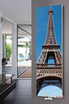 XIMAX Paneelheizkörper P1 Plan Print, mit Mittenanschluss und Motiv P14 Eiffelturm