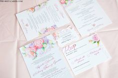 Floral Classic Dinner Menu card from Toronto wedding design studio.