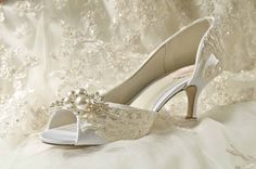 """Wedding Shoes - Vintage Wedding Lace - 2.25"""" Heels- Swarovski Crystals and Pearls - Women's Bridal Shoes, Custom Dyed Colors, The Abigale by Pink2Blue on Etsy"""