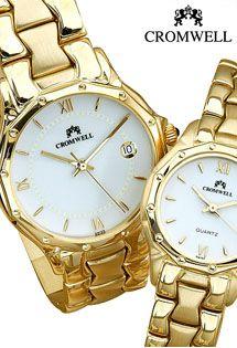 cb6f9001e05b Relojes de oro para caballero y para señora de mecanismo suizo marca  Cromwell con la caja y el armis de oro