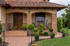 Village House Design, Bungalow House Design, Village Houses, My House Plans, House Layout Plans, House Layouts, Mexico House, Front Porch Design, House Paint Exterior