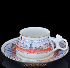 "Russian Imperial Lomonosov Porcelain Coffee Cup & Saucer ""Moscow Kremlin"", NEW - http://glass-pottery.goshoppins.com/pottery-china/russian-imperial-lomonosov-porcelain-coffee-cup-saucer-moscow-kremlin-new/"