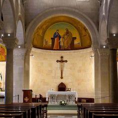 St #Joseph's Church built over the carpentry workshop in the old city of #Nazareth #Israel ExploreTraveler.com