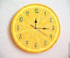 Купить Часы настенные Лимон - желтый, часы настенные, часы интерьерные, часы ручной работы