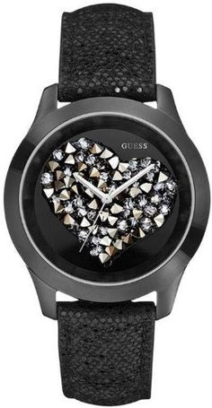 GUESS Black Crystal Heart Watch GUESS. $80.59. analog movement. water resistant. Womens jewelry. 10 year limited warranty. watch. Save 15% Off!