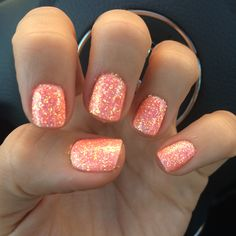 Coral spring time nails - love the coral, not the sparkles. Would just do it on the ring finger!