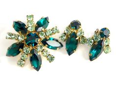 Green Austria Brooch And Earrings Crystal by JewelryQuestDesign, $39.99