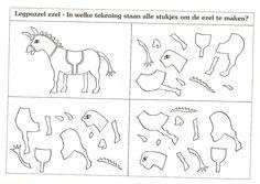 legpuzzel ezel. in welke tekening staan alle stukjes om de ezel te maken?