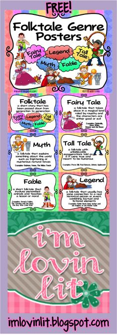FREE 6 Poster Set for teaching the subgenres of Folktales: Fairy Tale, Tall Tale, Fable, Myth, Legend. Can be adapted for therapy ⓁⓄⓋⒺ New Therapies Ireland Library Lessons, Reading Lessons, Reading Skills, Teaching Reading, Reading Strategies, Teaching Tools, Genre Lessons, Teaching Supplies, Reading Resources
