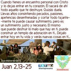 """Del santo evangelio según san Juan 2, 13-25  Se acercaba la Pascua de los judíos, y Jesús subió a Jerusalén. Y encontró en el templo a los vendedores de bueyes, ovejas y palomas, y a los cambistas sentados; y, haciendo un azote de cordeles, los echó a todos del templo, ovejas y bueyes; y a los cambistas les esparció las monedas y les volcó las mesas; y a los que vendían palomas les dijo: """"Quitad esto de aquí; no convirtáis en un mercado la casa de mi Padre"""". Sus discípulos se acordaron de lo…"""