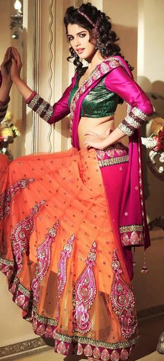 $61.04 Pink and Orange A Line Embroidered Net Lehenga Style Saree 26462