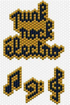 Tutoriel diagramme tissage brick stitch perles miyuki mots tissés rock music