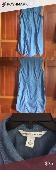 Jones Denim shirt dress Cute sleeveless denim/lyocell shirt dress with self belt and side pockets. Jones New York Dresses Midi