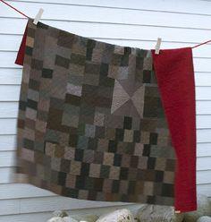 Vintage quilt from vintage suiting samples.  Vintage purposeful reuse.