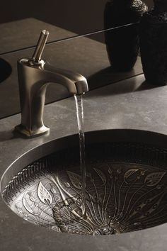 Decorative metalwork in this sink