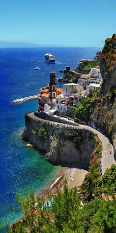 artncity: Amalfi Coast Scenic beautiful places for travel atraniitaly Places To Travel, Places To See, Travel Destinations, Best Places In Italy, Travel Tips, Places For Honeymoon, Travel Packing, Travel Advice, Dream Vacations