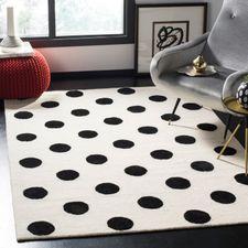 White With Black Dots Kids Rug Black Area Rugs Kids Rugs Wool