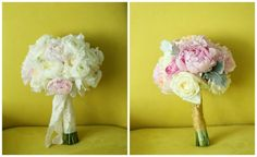 Ivory and Soft Pink Bouquets with Peonies, Roses, Ranunculus, Sweet Peas, and Dusty Miller.  Germania Place Wedding. Kenny Kim Photography. Sweetchic Events. Vale of Enna.