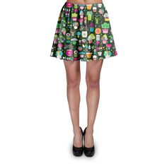 Green Fingers Gardener Skater Skirt Xs-3Xl Stretch Flared Short Skirt