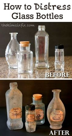 How to distress glass bottles to make them look old and antique.. A great creepy…