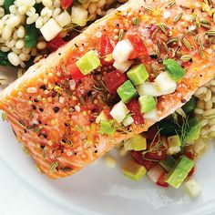 Fennel, Mustard & Lemon-Crusted Salmon with Avocado Salsa - Clean Eating Mag