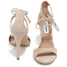 Steve Madden Semona Blush Suede Lace-Up Heels (5.250 RUB) ❤ liked on Polyvore featuring shoes, high heel shoes, high heel stilettos, rubber sole shoes, lace up high heel shoes and synthetic shoes