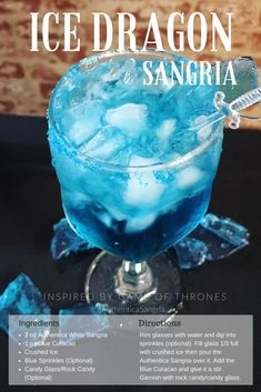 Ice Dragon Sangria inspired by Game of Thrones. Although this cocktail looks icy. - Ice Dragon Sangria inspired by Game of Thrones. Although this cocktail looks icy it's sweet and delicious. Make this recipe while you're binge watching Game of Thrones! Game Of Thrones Drink, Game Of Thrones Cocktails, Game Of Thrones Theme, Party Drinks, Cocktail Drinks, Fun Drinks, Yummy Drinks, Red Cocktails, Beverages