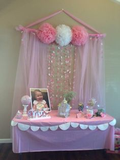 Sweets table. Birthday party. Butterfly theme. Backdrop made with cutout butterflies, pink tulle. Bird cage and cut out small flowers pinned to styrofome ball.