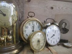 Old timepieces.  I am lucky to have one of my grandfather's clocks... and my other grandfather's retirement watch.