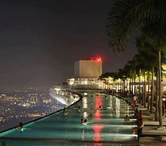 Pool on the 57th Floor of the Marina Bay Sands Resort in Singapore.   Most Beautiful Pages