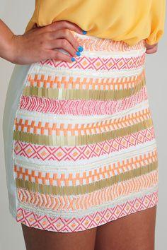 Feel The Groove Skirt: White/Multi