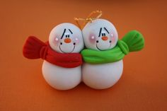 Snowman Couple Clay Christmas Ornament - all styles of clay ornaments; various prices
