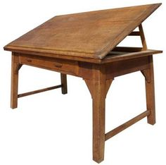 antique drafting table with internal wood lift